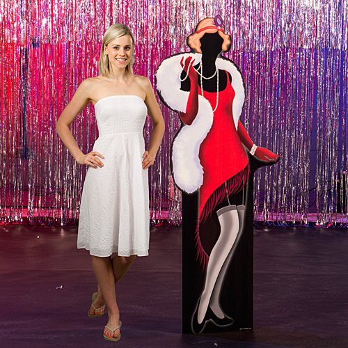 Shindigz Roaring 20's Twenties Flapper Girl Standee Party Prop Standup Photo Booth Prop Background Backdrop Party Decoration Decor Scene Setter Cardboard Cutout ()