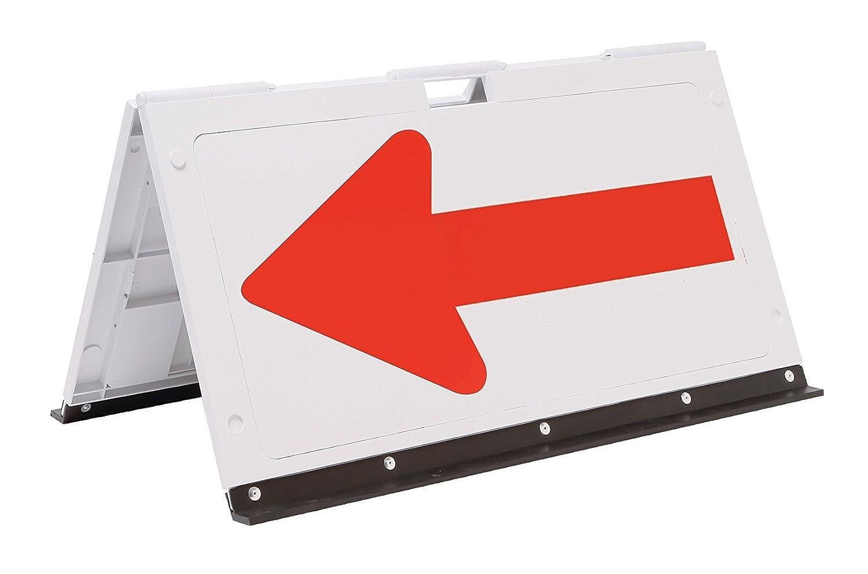 折りたたみ式 プラスチック製矢印板 パックン 全面反射 白地/赤矢印 H500×W920cm B079HDKC54