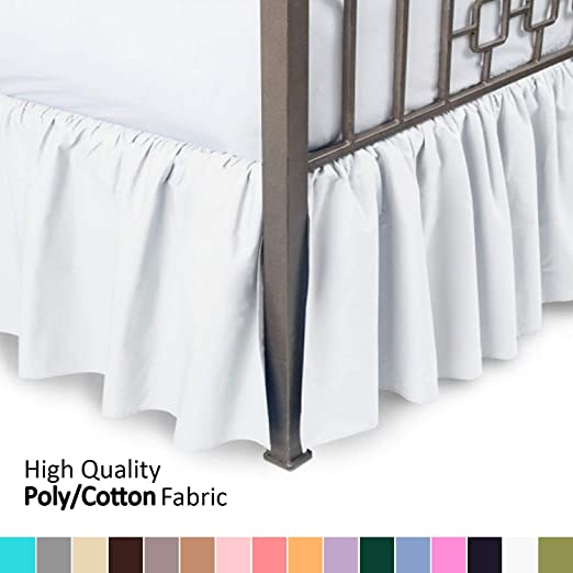 Ruffled Bed Skirt With Split Corners Ivory Color Style 3 Sided Coverage