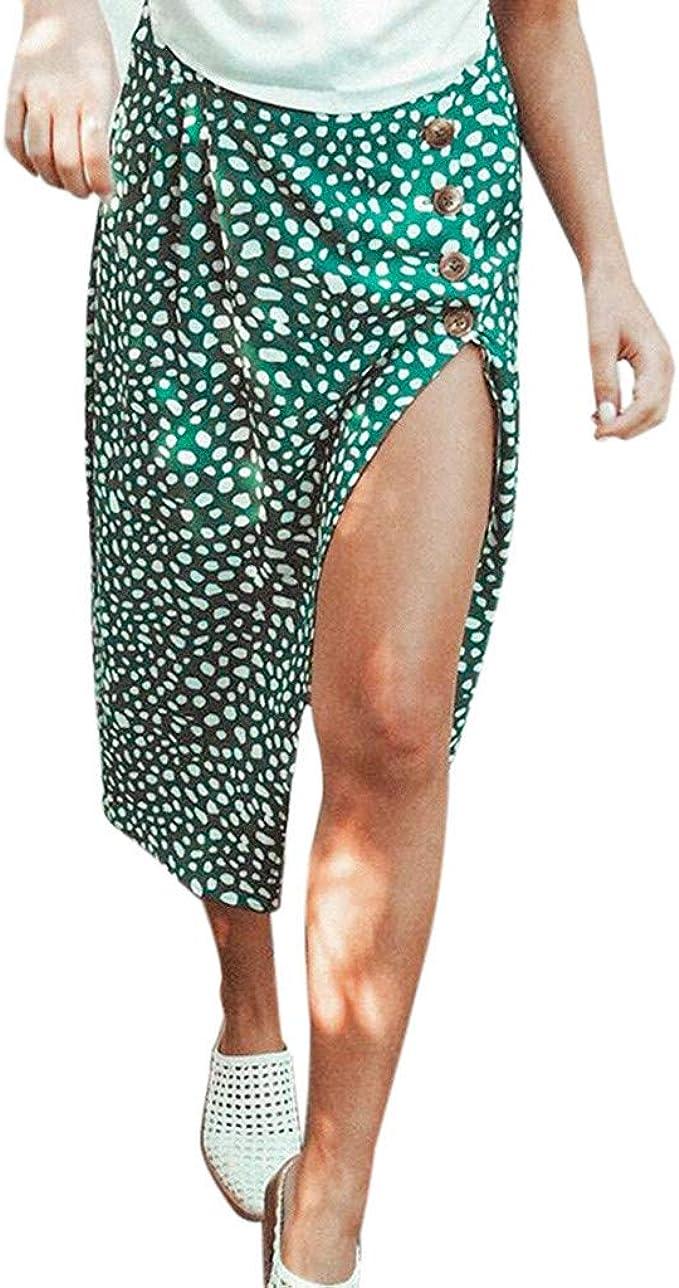 Vectry Moda Mujer Botón Alto Cintura Impreso Faldas De Verano ...