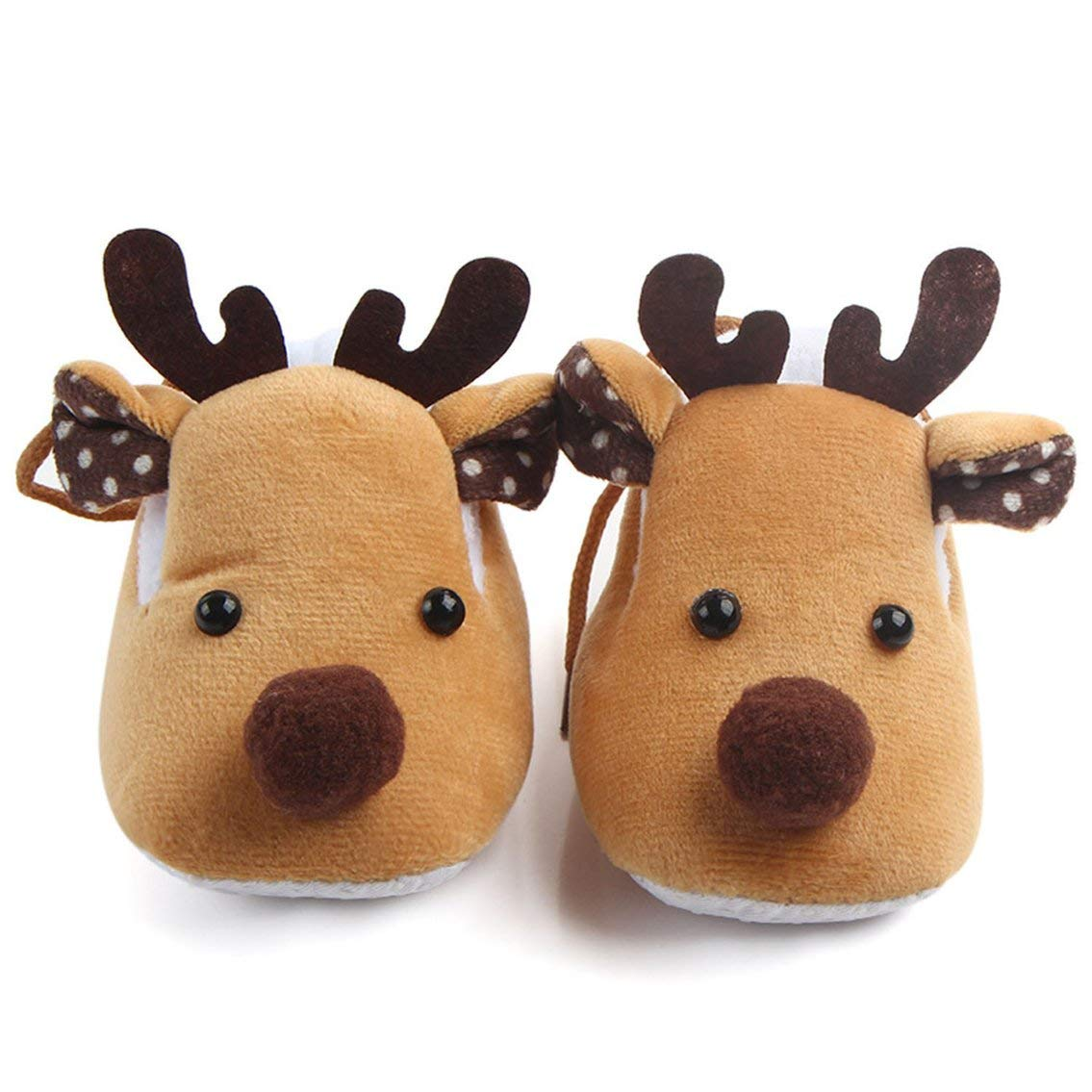 Mazur Lovely Christmas Deer Winter Coral Velvet Super Soft Bottom Sole Shoes Boys Girls Toddler Baby Shoes Comfortable Daily Wear(Color:Coffee)