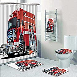 TextileLIHome 5 Piece Banded Shower Curtain Set. Rug&Contour& Curtain& Bath towel,Fire Truck with Emergency Equipments Universal Safety Rescue Team Engine Carto Pattern Adornment