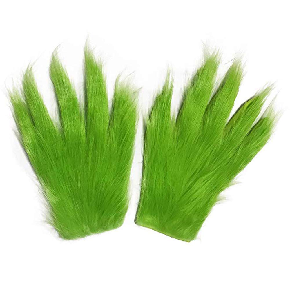 Christmas Gloves Holiday Costume Halloween Gloves Green Furry Gloves Gifts