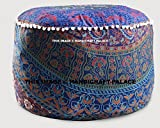 Round Ottoman Pouf Cover Indian Urban Mandala Ethnic Floor Pillow Indian Decor By ''Handicraft-Palace''