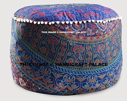 Round Ottoman Pouf Cover Indian Urban Mandala Ethnic Floor Pillow Indian Decor By ''Handicraft-Palace'' by Handicraft-Palace
