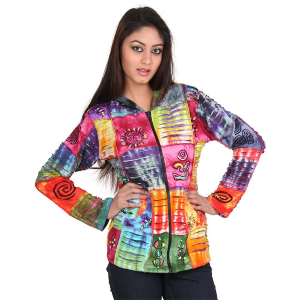 Collection Royal Nepal Bohemian Style Tie dye square patchwork jacket, Medium