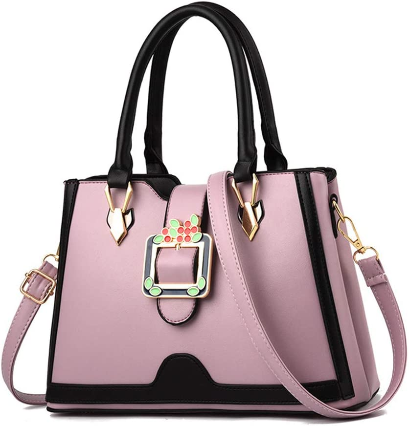 Fashion womens bag simple and elegant PU leather multi-pocket large capacity multi-function single shoulder Messenger bag,Purple,L