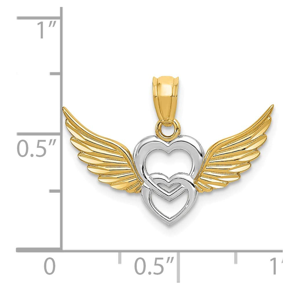 Mia Diamonds 14k Yellow Gold and Rhodium Heart with Wings Pendant