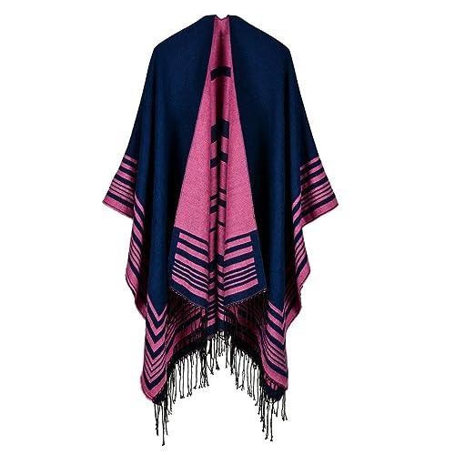 Dooxi Elegante Cálido Poncho para las Mujeres Clásicas Suave Chal de Borla