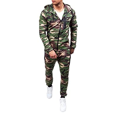 c8f814b7c2496 Manadlian Game Herren Jogginganzug Camouflage Anzug Set Army Sportanzug  Trainingsanzug mit Zipper Sportanzug Mit Kapuze