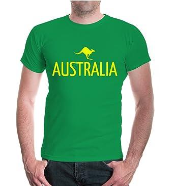 buXsbaum T-Shirt Australia-Kangaroo-S-Black-Neonyellow