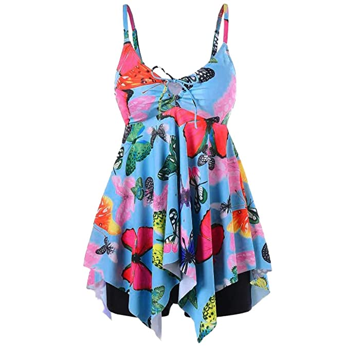 Pandaie Womens Dresses Plus Size Butterfly Print Tankini ...