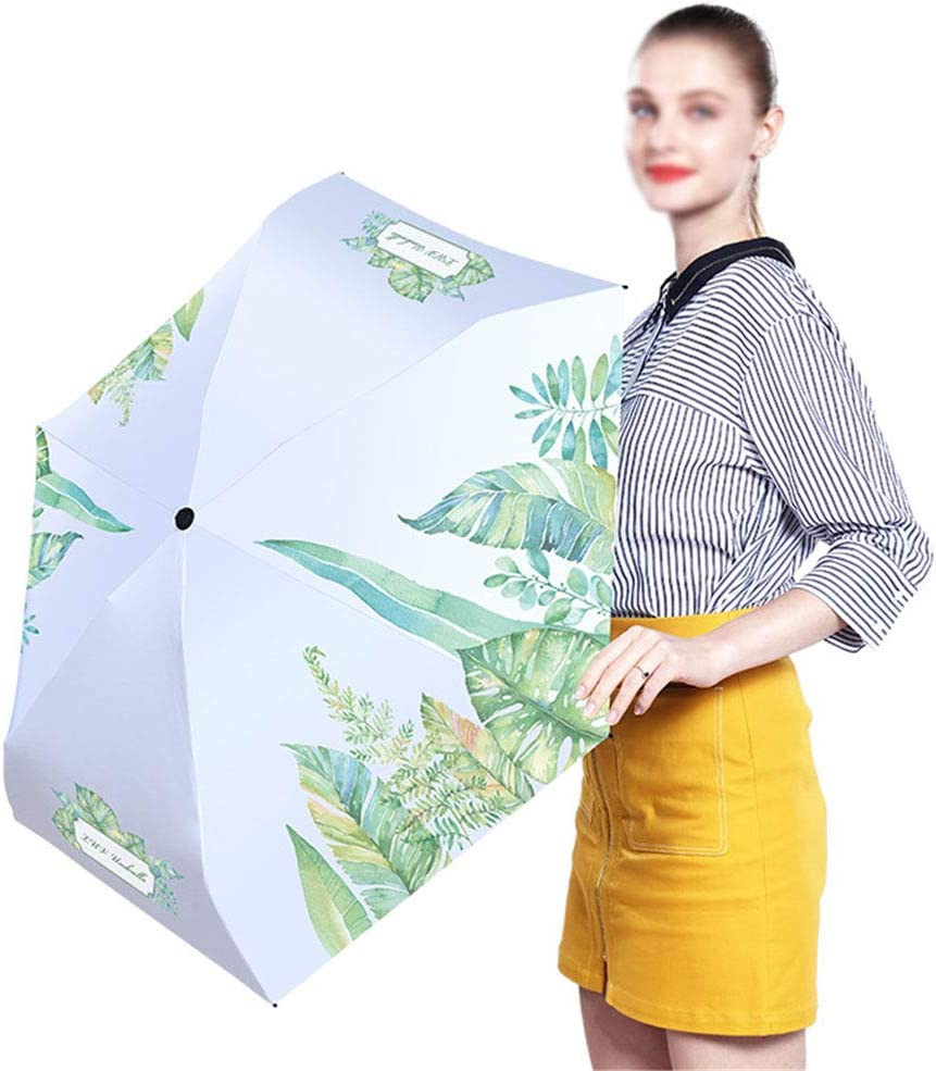 ZWYY Travel Umbrella Manual 5 Folding Sun Protection Umbrella Windproof Anti-UV Sunscreen Rain Umbrella Lightweight Portable Umbrellas,Pink