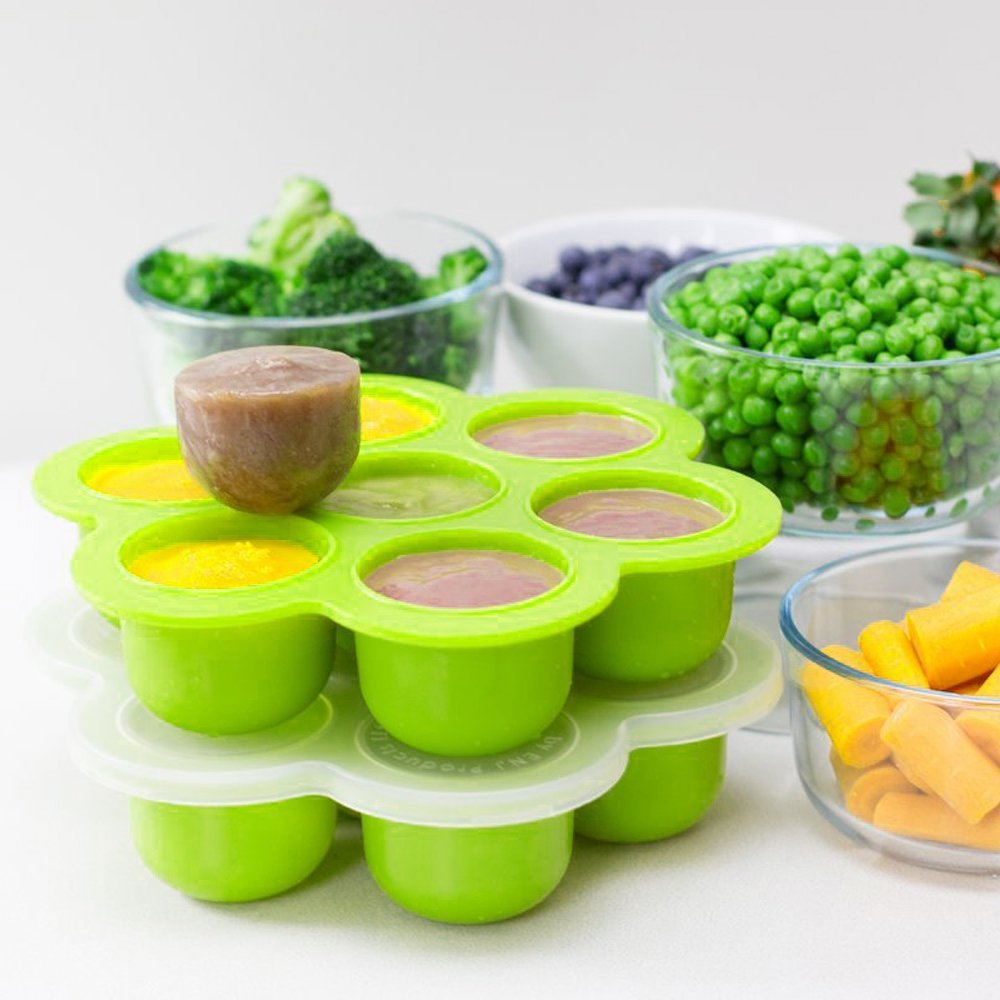MWGears Baby Food Freezer Tray with Flower Shape Premium FDA food grade, BPA-free, lead-free and phthalates-free Silicone (Green)