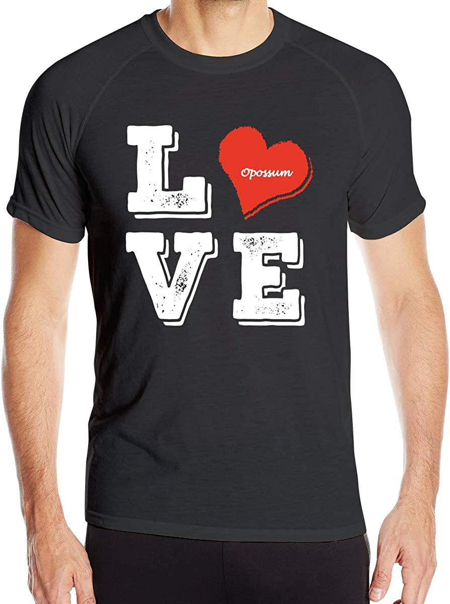 Mens Love Heart with Animal Opossum Quick Dry Athletic Shirts Short Sleeve Dry-Fit Casual Top