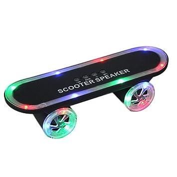 DLLL Negro LED portátil Bluetooth 3.0 Inalámbrico monopatín ...