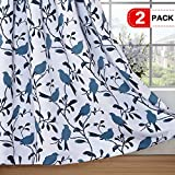 H.VERSAILTEX Blackout Grommet Curtains for Living Room Noise Reducing Thermal Insulated Window Curtain Drapes for Dining Room, Country Style Birds Blue Pattern (2 Panels,W52 x L96 Inch)