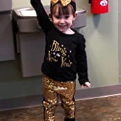 Girls Bling in The New Year Toddler Black Gold Sequin Leggings Long Sleeve Top Outfit Boutique Set