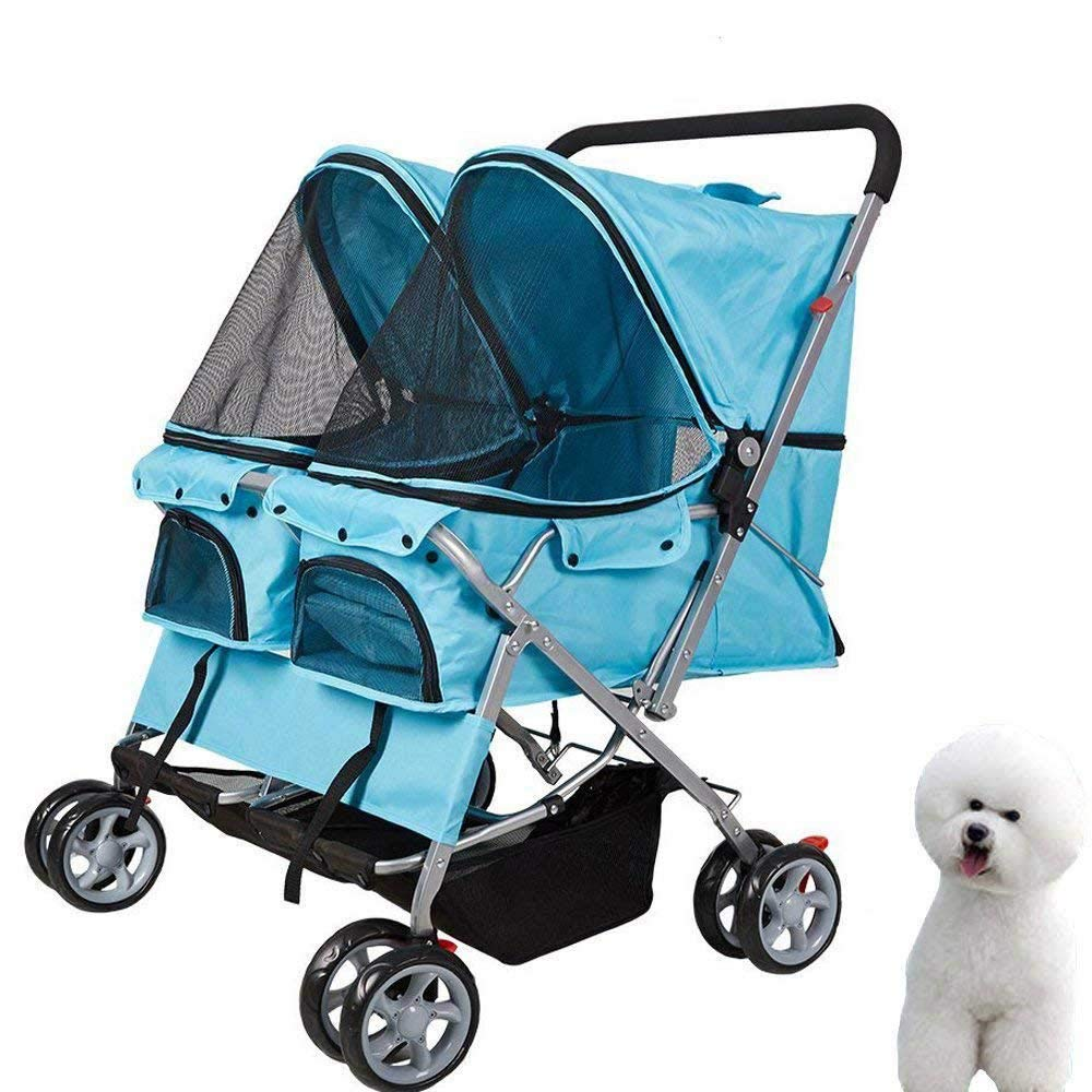 KARMAS PRODUCT Double Pet Stroller Wheels Large Strollers for Dogs Cover Blue by KARMAS PRODUCT