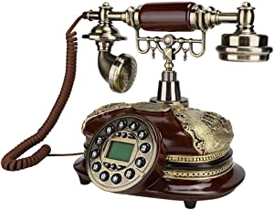 Retro Landline Telephone, FSK/DTMF Dual System Vintage Desktop Phone European Style Phone with Caller ID Display for Home/Hotel/Office Decor