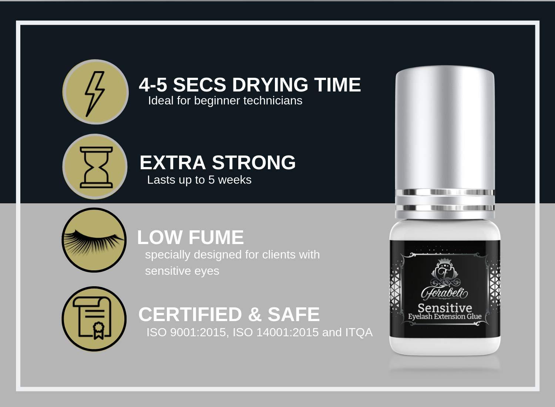 fc38d0eaa35 Amazon.com : SENSITIVE Eyelash Extension Glue 5 ml | Forabeli | LOW Fume |  4-5 Sec Drying time | Retention 5 weeks | Professional Use | Individual  Semi ...