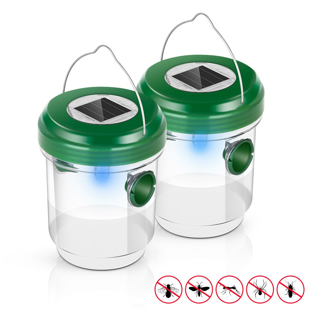 Rediruka Wasp Trap Catcher, [2018 UPGRADED] Life Outdoor Solar Powered Fly Trap with Ultraviolet LED Light Waterproof for Trapping Bees, Wasps, Hornets, Yellow Jackets, Bugs in Home Garden-2 pack
