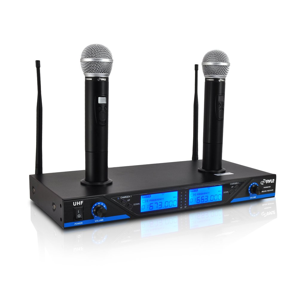 pyle 16 channel wireless microphone system portable uhf digital audio mic set with 2 handheld. Black Bedroom Furniture Sets. Home Design Ideas