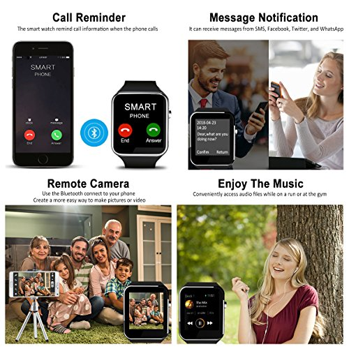 Smart Watch,Bluetooth Smartwatch Touch Screen Wrist Watch with Camera/SIM Card Slot,Waterproof Smart Watch Sports Fitness Tracker Android Phone Watch Compatible with Android Phones Samsung Huawei