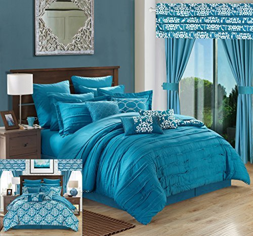 Chic Home Hailee 24 Piece Comforter Set Complete Bed in a Bag Pleated Ruffles and Reversible Print with Sheet Set and Window Treatment, Queen, Teal (Bag Window)