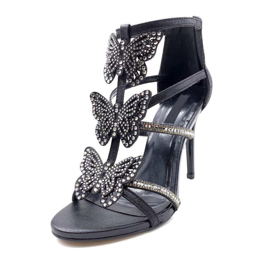 Angkorly - Damen Schuhe Pumpe Sandalen - - - Sexy - Stiletto - Offen - Schmetterling - Strass - Multi-Zaum Stiletto high Heel 10.5 cm f13831