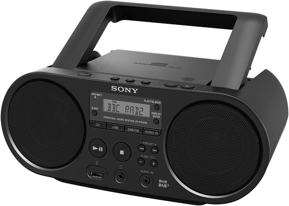 Sony Boombox Cd Player Dab Ukw Radio Usb Schwarz Zsps55b Ced Audio Hifi