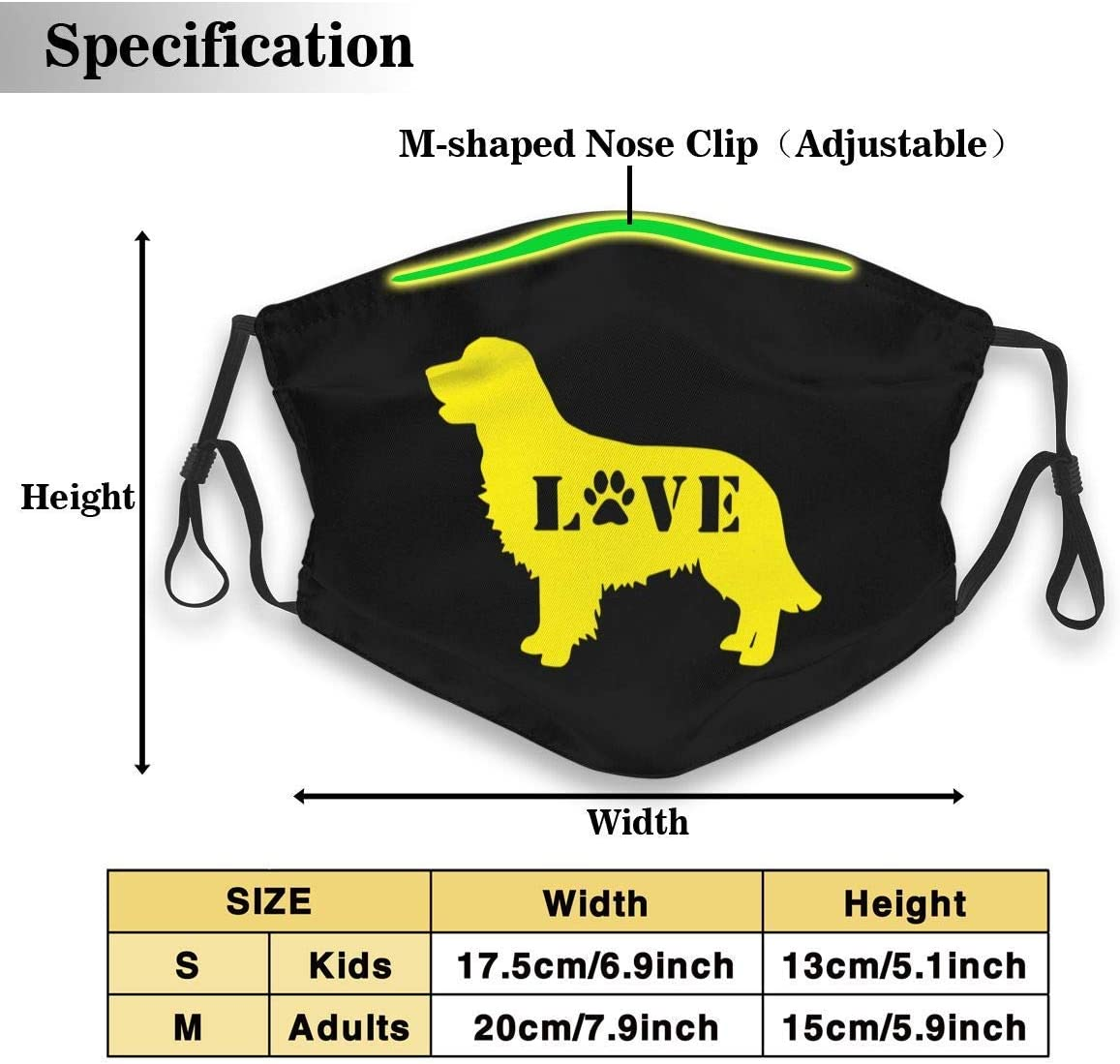 Antipolvo Earloop Face Máscaras de Viaje Golden Retriever Love Dog Paw Mascarilla Respirador a Prueba de Polvo con Filtro reemplazable S