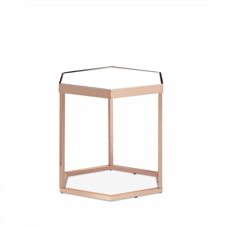 OTTMAR-Beistelltisch Glas, Metallgestell, sechseckig, modernes Design (Spiegel-sicheres-Glas),Metall Couchtisch, Kupfer-B0016335DE