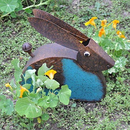 Liebre Pequeña de Metal Rústico - Adorno Antiguo Vintage para Amantes del Jardín - Escultura Decoración del Hogar - Tamaño: 33.5 x 10.5 x 33 CM: Amazon.es: Jardín