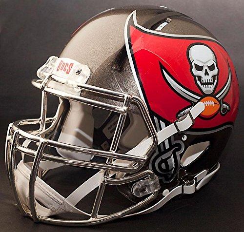 Riddell Speed Tampa Bay Buccaneers NFL Replica Football Helmet with S2BDCSP Football Helmet Facemask/Faceguard (Tampa Helmet Football Bay Replica Buccaneers)