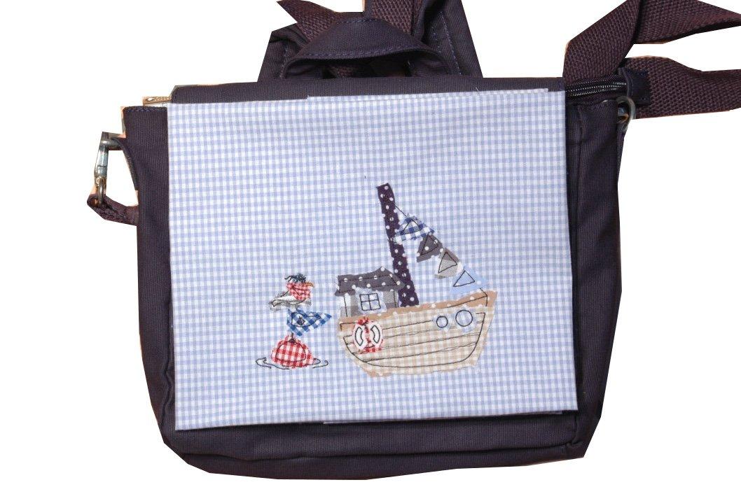 Kindergartenrucksack, Kindergartentasche mit Name,Canvastasche für Kinder,Tasche für Kinder mit Stickerei Kutter, Möve,Kindertasche