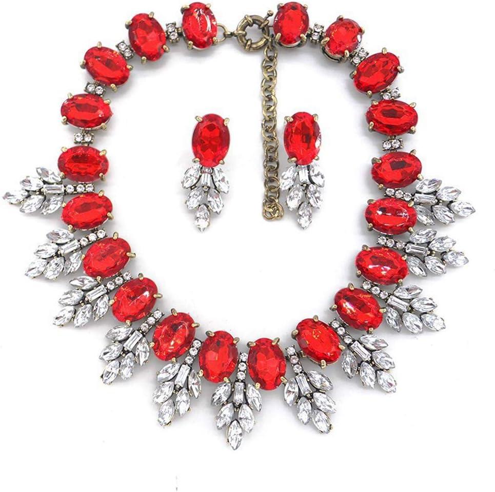 YFFSP Zafiro Mujer Pendientes Colgantes De Circonita Cúbica Collar Hoja De Corte Ovalado Señoras Diamantes De Imitación Elegantes Fiesta Mascarada Compromiso,G
