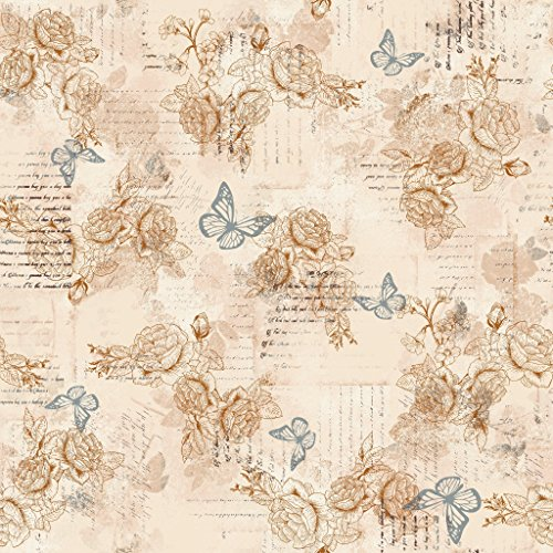 (Stitch & Sparkle Fabrics, Aviary, Words Butterly Beige Cotton Fabrics, Quilt, Crafts, Sewing, Cut by The)