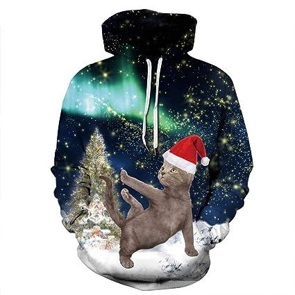 Jojo Christmas Sweater.Amazon Com Jojo Christmas Hoodie Sweater Star Cat Print