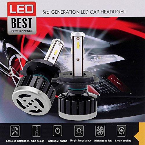 (ECCPP H4 LED Headlight Bulb Super Bright Cree White Auto Headlamp Conversion Kit High Low Beam - 8000Lm 80W 6000K Focus Light - 1 Year Warranty (Pack of 2))