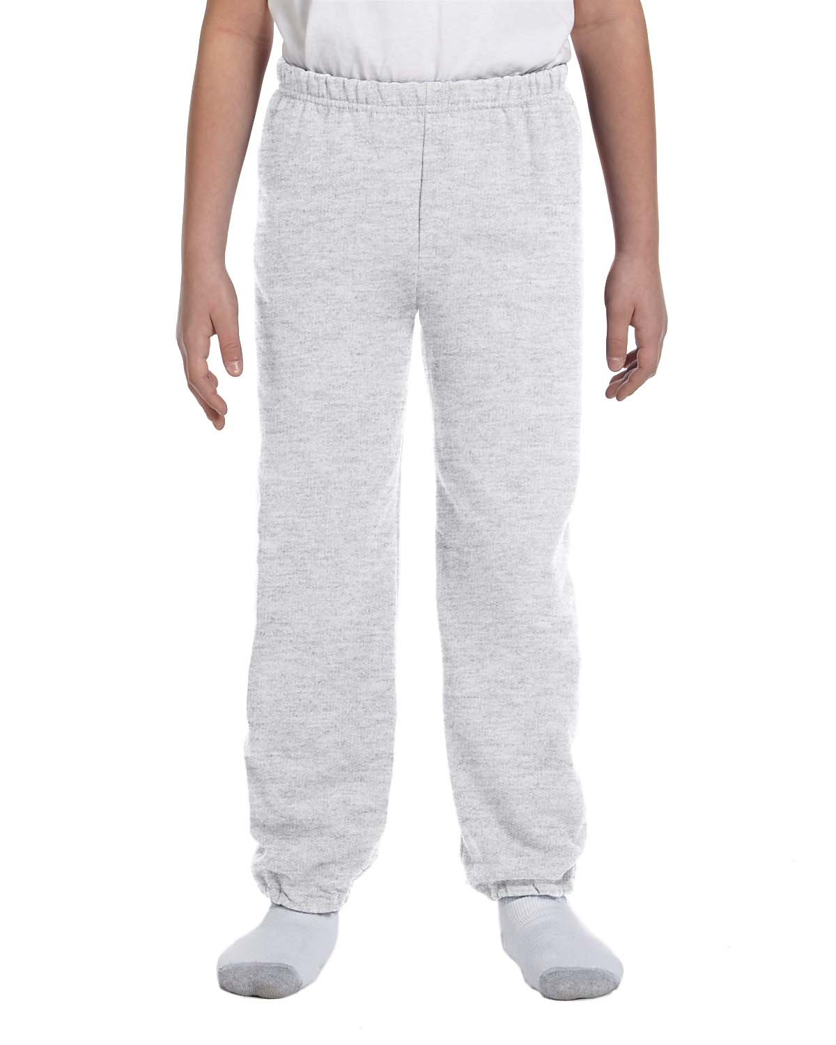 Gildan Boys 7.75 oz. Heavy Blend? 50/50 Sweatpants (G182B) -ASH -L-12PK