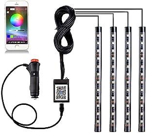 EXPERTBEAM Interior Car Lights, interior footwell lighting kits, 8 colours 4 pcs 48 LED Multi Color Car LED Strip Lights, New App Control Under Dash Lighting Kit DC 12V