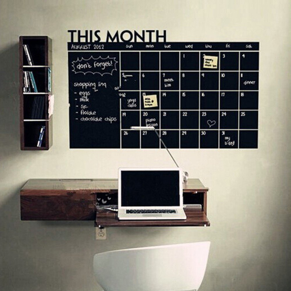 25'' x 39'' Monthly Plan Calendar Chalkboard Wall Sticker MEMO Blackboard Vinyl Study Room Wall Stickers Home Wall Decor For Office Classroom