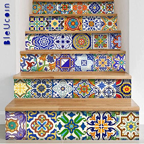 Spanish Mediterranean Talavera Tile Stickers for Kitchen Bathroom Backslash, Removable Stair Riser Decal Peel and Stick Home Decor- 44 Designs - Pack of 44 (8'' x 8'' Inches) by Bleucoin (Image #1)