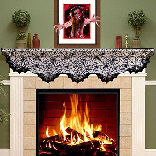 Halloween Decorations For Mantle (Aytai Lace Spider Bats Mantel Scarf,Unique Cobweb Fireplace Mantle Scarf for Halloween fireplace Decoration Prop Party Décor,80inch X 20inch Black)