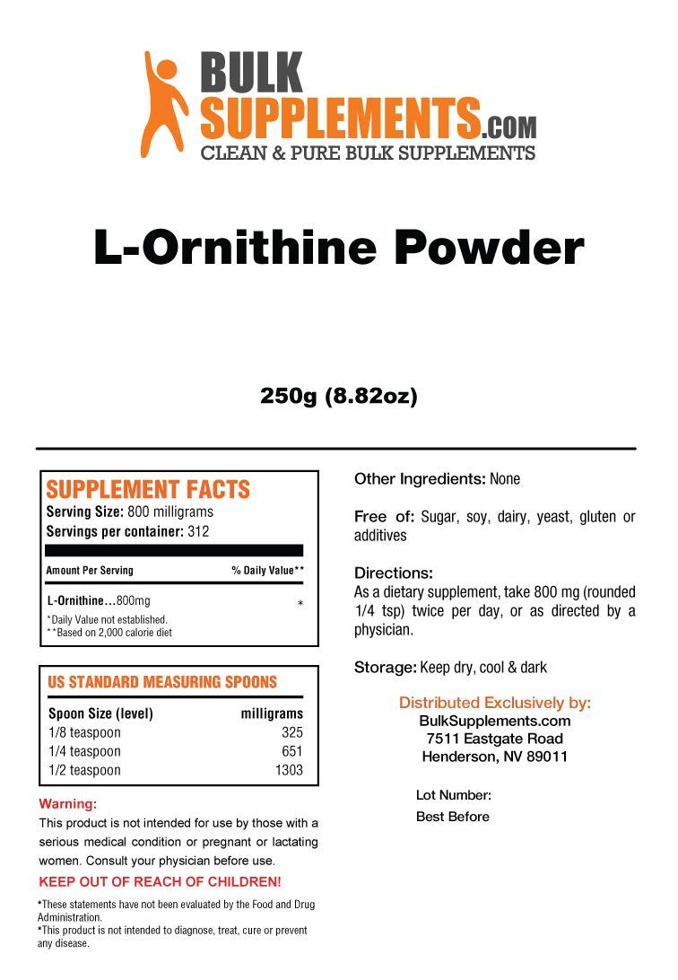 BulkSupplements L-Ornithine HCL Powder (250 Grams) by BulkSupplements