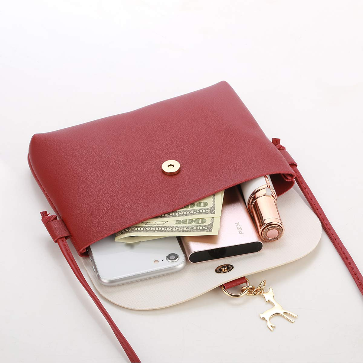 Small Crossbody Purse for Women With Pendant,PU Leather Crossbody Bag With Strap Cell Phone Bag for Girl,Red by Lanling (Image #3)