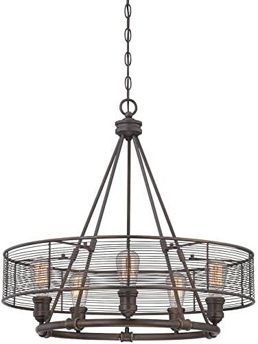 Eurofase 28065-012 Terra Industrial Metal Mesh Drum Chandeliers, 5-Light 300 Total Watts, 25 H x 26 Dia, Bronze