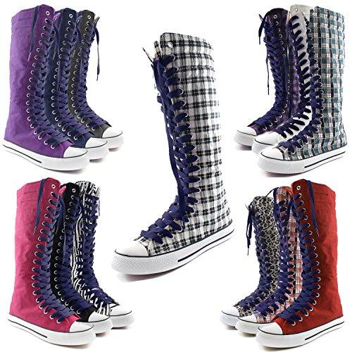 Dailyshoes Toile Femme Mi-mollet Bottes Hautes Casual Sneaker Punk Plat, Bottes Rouges, Dentelle Marron Clair