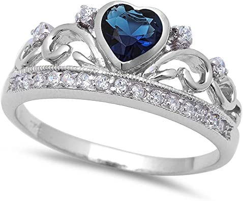 Women/'s 925 Sterling Silver Heart Crown Promise Wedding Band Ring